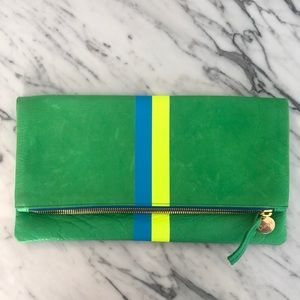 Clare V Green Leather Fold over Clutch